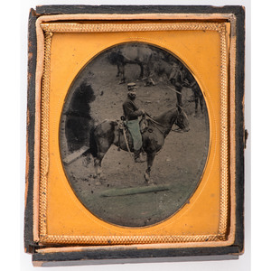 Sixth Plate Outdoor Tintype of Civil War Cavalryman on Horseback
