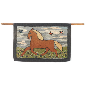 Hooked Rug with a Horse