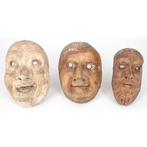 Three Carved Wooden Tragedy Masks