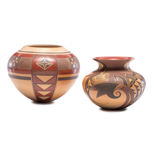 Steve Lucas (Hopi, b.1955) Polychrome Pottery Jars, From the Collection of Robert B. Riley, Urbana, IL.