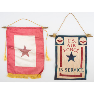 Group of World War II-Era Flags, Incl. 48-Star US Flags, Service Star, and Navy and Air Force Banners