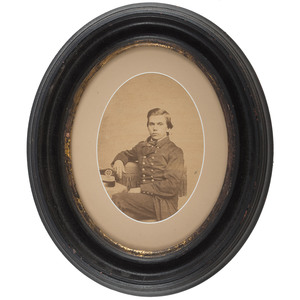 Two Civil War Large Format Albumen Photographs of Young Soldiers, Incl. Portrait of Identified Sailor and Infantryman