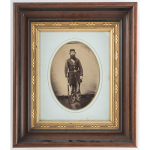 Civil War Photographs of Armed Soldiers, Including Half Plate Tintype and Large Format Albumen