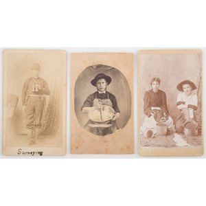 Trio of Occupational CDVs, Incl. Surveyor and Candy Maker