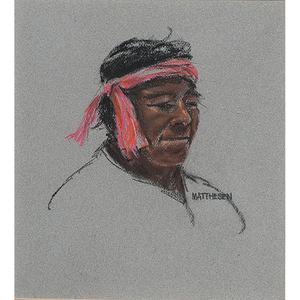 Portrait of a Native Man; Pastel on Paper