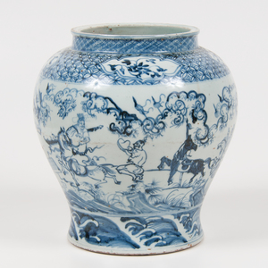Chinese Porcelain Blue and White Jar with Warriors