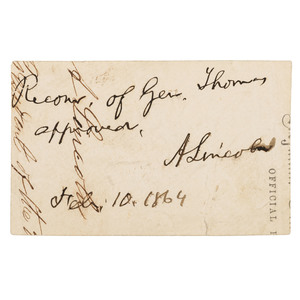Abraham Lincoln, ANS as President Approving General Thomas