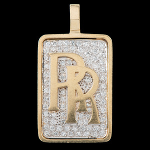14k Bicolor Gold Diamond Pendant
