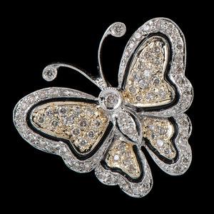 18k Bicolor Gold Diamond Butterfly Brooch