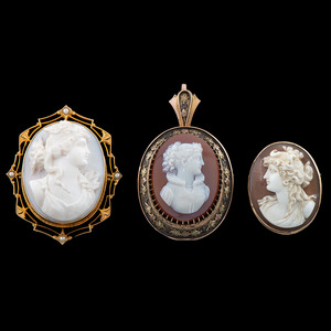 Carved Cameo Brooches, Lot of Three