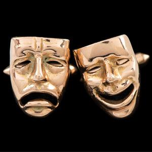 14k Gold Comedy & Tragedy Cufflinks