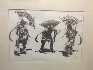 Thomas Mails (American, 1920-2001) Apache Mountain Spirit Dancer Poster PLUS