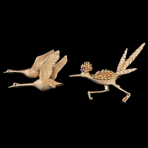 14k Gold Avian Brooches, Lot of Two