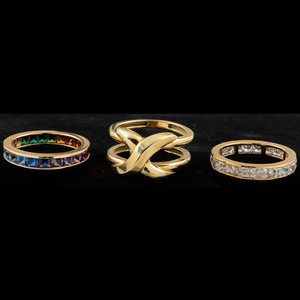 18k Gold Ring Guard with 14k Eternity Rings