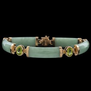 14k Gold Hardstone and Peridot Bracelet