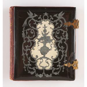 Unique Sixth Plate Papier Mache Case with Metal Inlay, Flower Vase [Berg 6-372]