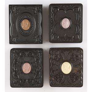 Four Rare Geometric Ninth Plate Union Cases with Cameo Centers [Berg 3-260C5, 3-284C2, 3-285C1, 3-287C2]