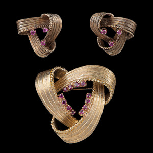 Soret 14k Gold Pink Sapphire Brooch, Earrings