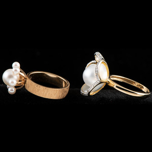 14k Gold Cultured Pearl Rings, Lot of Two