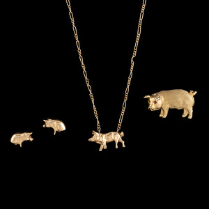 14k Gold Pig Earrings, Brooch and Necklace