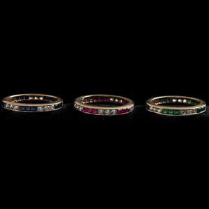 14k Gold CZ Rings, Lot of Five