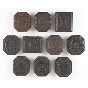 Ten Ninth Plate Figural and Geometric Union Cases, Including Octagonal Examples and One Unique Example