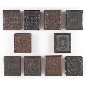 Ten Geometric Ninth Plate Union Cases Containing Daguerreotypes of Men and Women of Various Ages