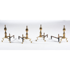 Two Pair Harvin Co. Brass Andirons