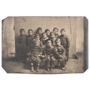 American Indian Boarding School, Rare Pair of Tintypes Showing Young Students