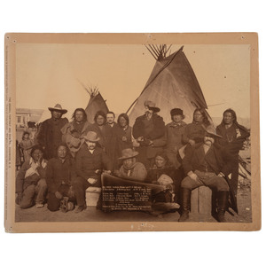 Indian Chiefs and US Officials, Incl. William F. Cody, at Wounded Knee, Large Format Photograph by Grabill