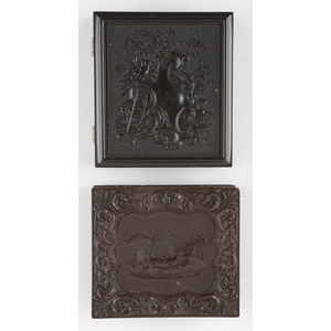 Two Agricultural Sixth Plate Union Cases Containing Daguerreotypes [Berg 1-90, 1-93]
