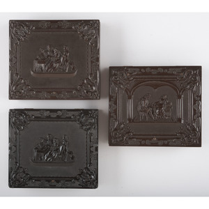 Three Figural Sixth Plate Union Cases, Including a Very Rare Example, Housing Images of Children and an Identified Woman [Berg 1-120, 1-120/3-196, 1-200]