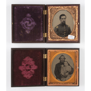 Two Patriotic Sixth Plate Union Cases, Including a Very Very Rare Example, Containing Images of Men [Berg 1-66/1-69, 1-50/3-163]