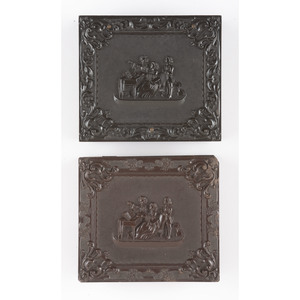 Two Sixth Plate Union Cases with Variations of Family Enjoying the Piano, Including a Very Very Rare Back Cover, Containing Daguerreotype Portraits of Women [Berg 1-119, 1-121/1-120]