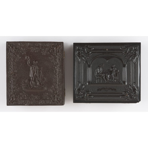 Two Figural Sixth Plate Union Cases, A Game of Chess 2 and Hunter with Kill, Including Daguerreotype [Berg 1-124, 1-184]