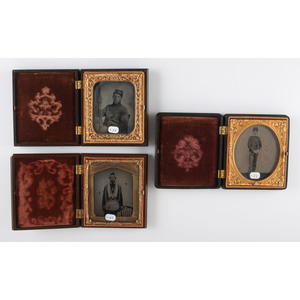 Three Sixth Plate Union Cases,  Including a Rare Masonic Emblems, Containing Portraits of Soldiers and a Mason [Berg 1-53, 1-58, 1-87]