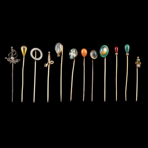 Gold Stickpins PLUS, Lot of 12