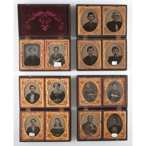 Four Double Ninth Plate Union Cases Containing Portraits of Men, Women, and Children [Berg 1-48/1-49, 1-49/3-49, 3-50, 3-51/1-48]