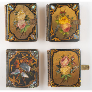 Four Ninth Plate Book-Style Papier Mache Cases with Mother of Pearl and Hand Painting, Including Unique Examples, Containing Daguerreotypes [Berg 6-246, 6-383, 6-801, 6-1034]