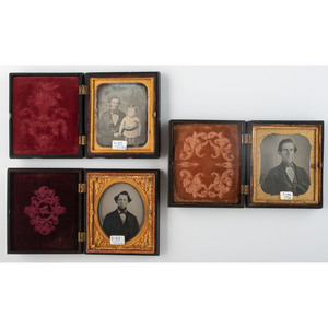 Three Figural Union Cases, Including Rare Fireman Example, Containing Portraits of Men [Berg 3-82/1-84, 3-83/1-112, 3-89/1-95]