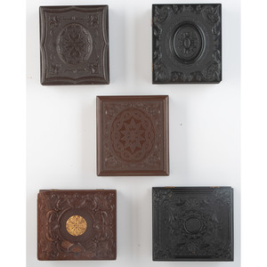 Five Geometric Union Cases Containing Portraits of Paired Family Members [Berg 3-70G, 3-73, 3-74, 3-79, 3-85]