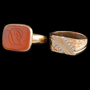 18k Gold Men's Rings, Lot of Two