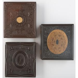 Trio of Geometric Union Cases, Including Rare Gilded Examples [Berg 3-73G, 3-74G, 3-78/3-89]