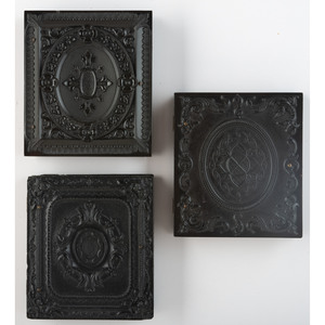 Three Geometric Union Cases Containing Portraits of Subjects Posed with Cases [Berg 3-75, 3-77, 3-80]