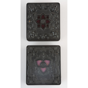 Two Rare Sixth Plate Geometric Union Cases with Cutouts, Including a Daguerreotype of Children with Flowers [Berg 3-64, 3-65/3-107]