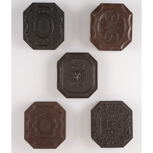 Five Sixth Plate Geometric Union Cases Containing Portraits of Men, Women, and Children, Including an Unusual Image of Two Housemaids Eating Apples [Berg 3-198, 3-201, 3-208, 3-210, 3-212]