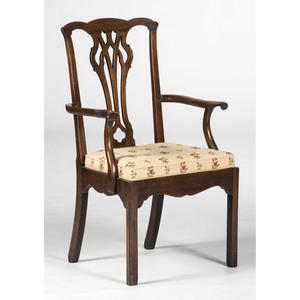 A Chippendale Style Walnut Armchair