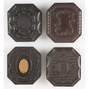 Four Sixth Plate Octagonal Geometric Union Cases, Including a Rare Example and a Case Containing a Portrait of a Man and his Dog [Berg 3-202, 3-203, 3-209G, 3-211]