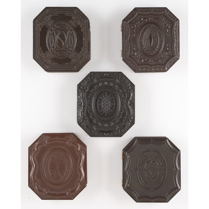 Five Scarce Sixth Plate Octagonal Geometric Union Cases, Including a Postmortem Image of a Baby [Berg 3-209, 3-216, 3-218, 3-219, 3-221]