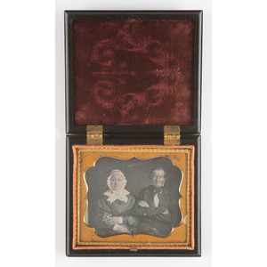 Very Rare Sixth Plate Union Case, Ten Dollar Gold Coin [Berg 1-70], Containing Daguerreotype of an Older Couple Posed with a Cased Image